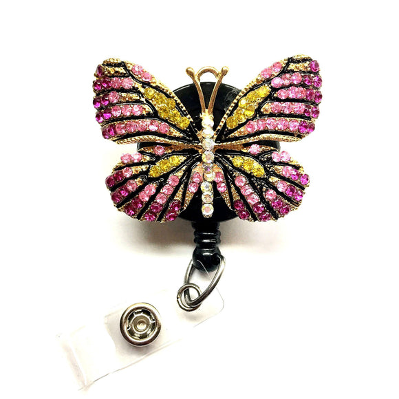 Hot Pink Rhinestones Butterfly Alloy Retractable ID Badge Reel - Alligator Swivel Clip ID Badge Holder - Gifts Badge Clips