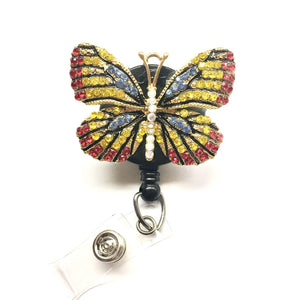 Gold/Red/Blue Rhinestones  Butterfly Alloy Retractable ID Badge Reel - Alligator Swivel Clip ID Badge Holder - Gifts Badge Clips