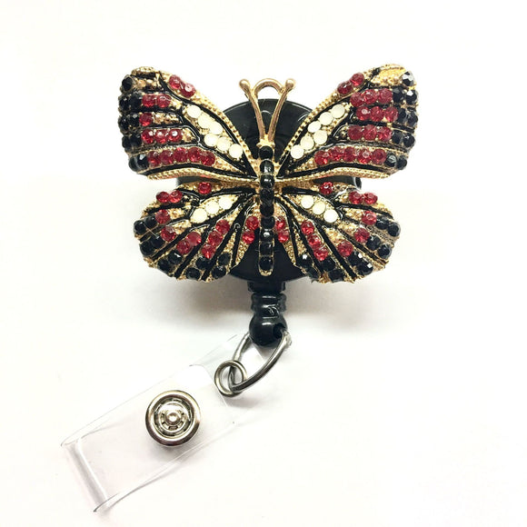 Red /Black Rhinestones Butterfly Alloy Retractable ID Badge Reel - Alligator Swivel Clip ID Badge Holder - Teacher Nurse Gifts Badge Clips