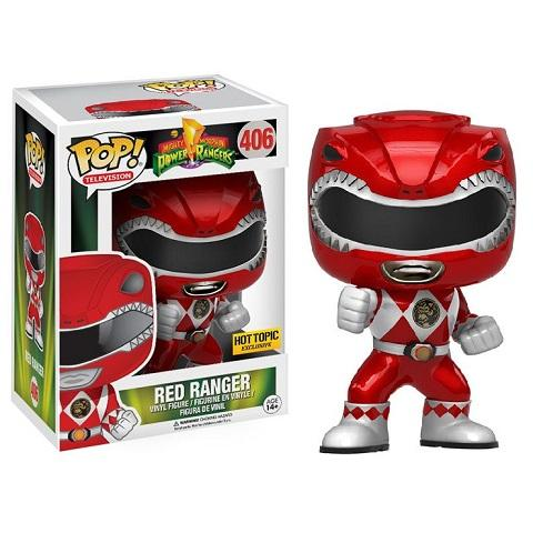 Funko Pop! POWER RANGERS: Red Ranger [Metallic] #406 [Hot Topic]