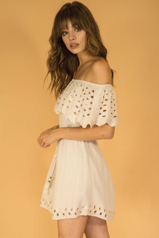 Ivory Daisy Off Shoulder Dress