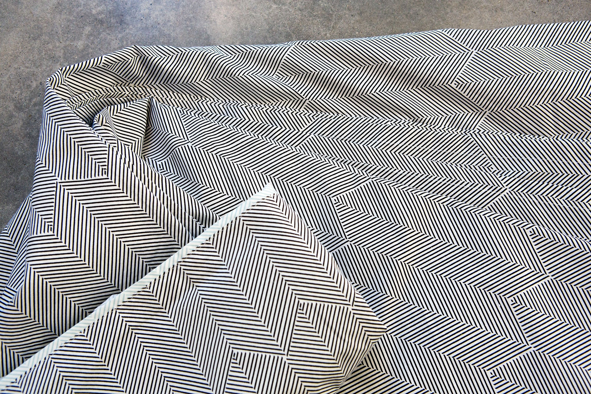 Black Herringbone Flat Sheet - Fictional Objects