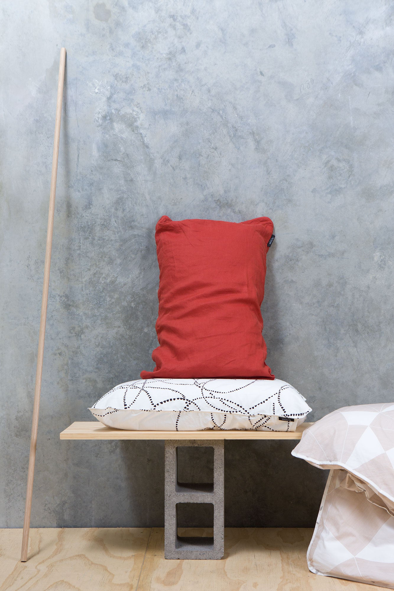 Red Linen - Single Standard Pillowcase
