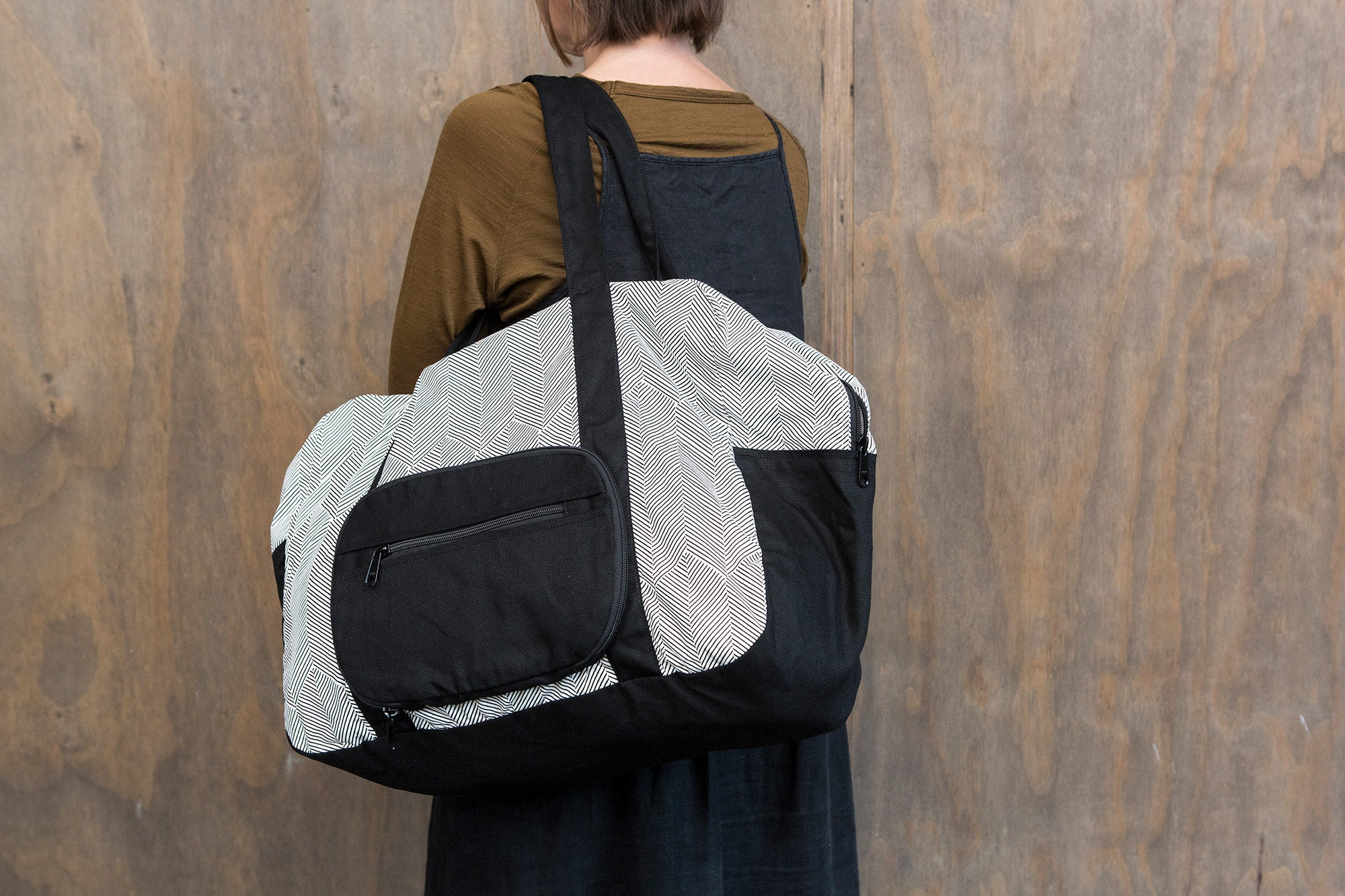 Black Herringbone Cotton & Canvas Duffel Bag