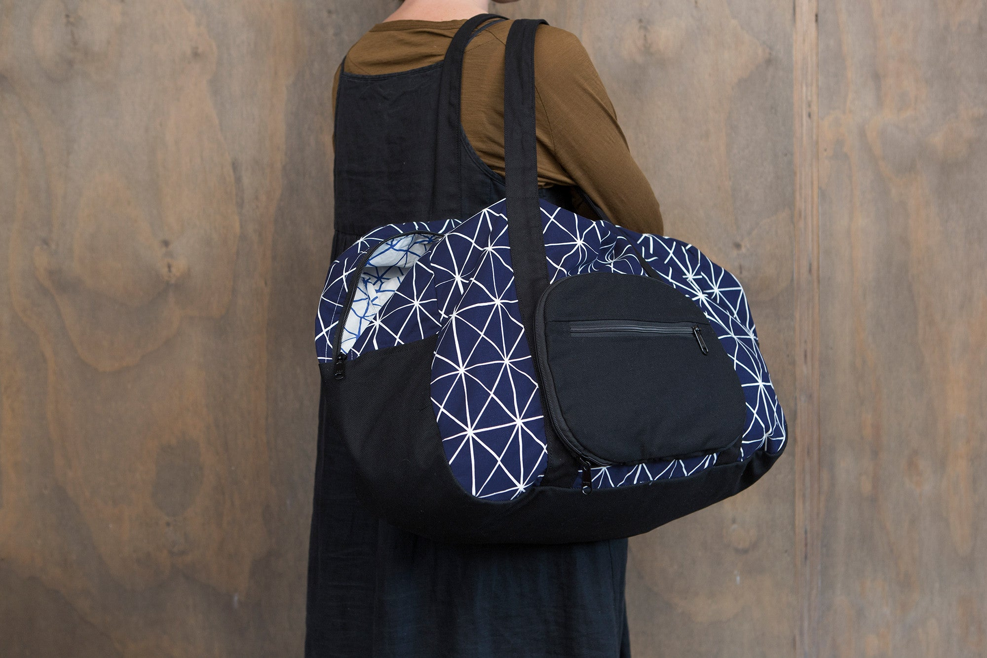 Navy Folds Cotton & Canvas Duffel Bag