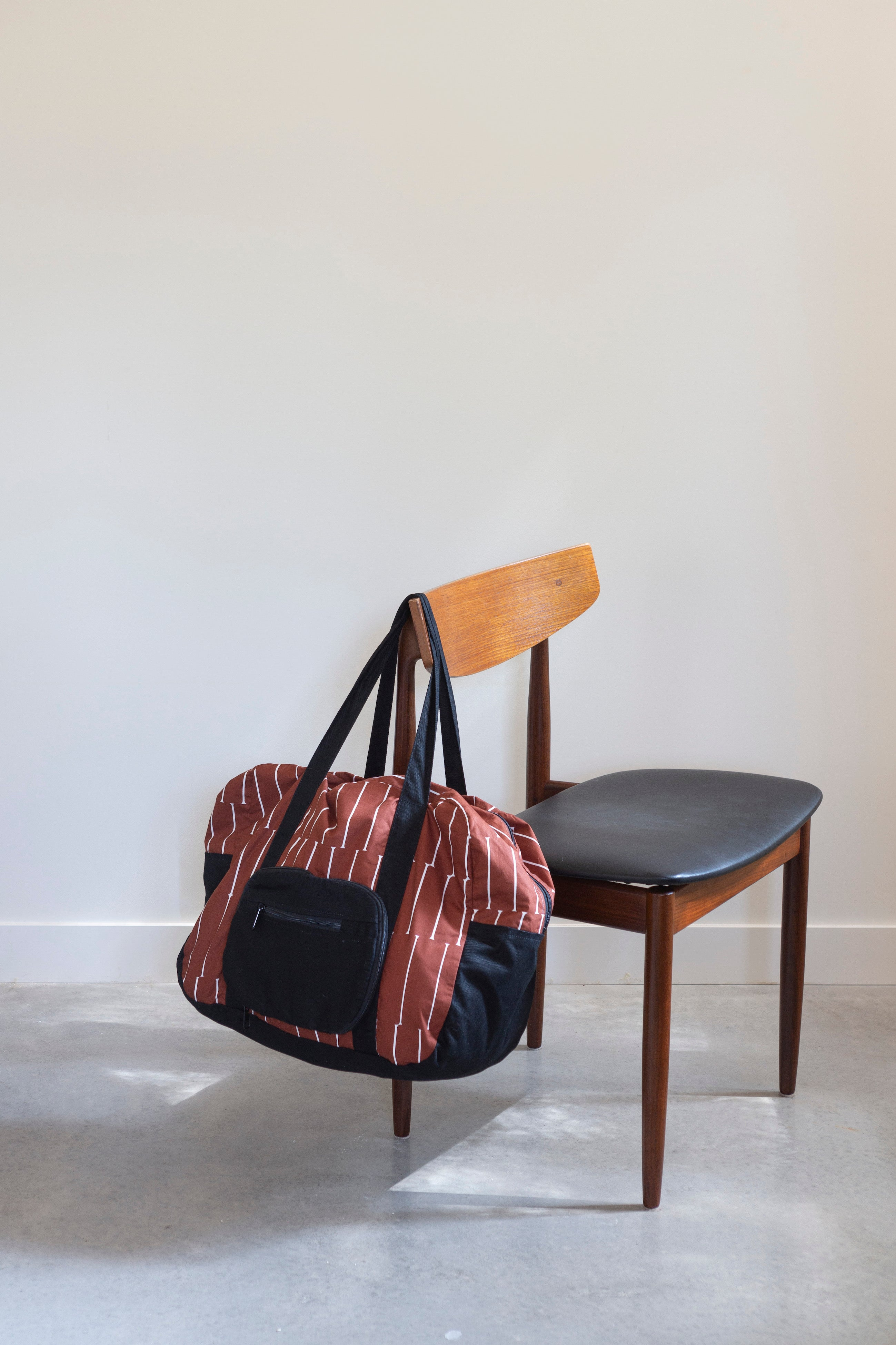 Coco Cotton & Black Canvas Duffel Bag