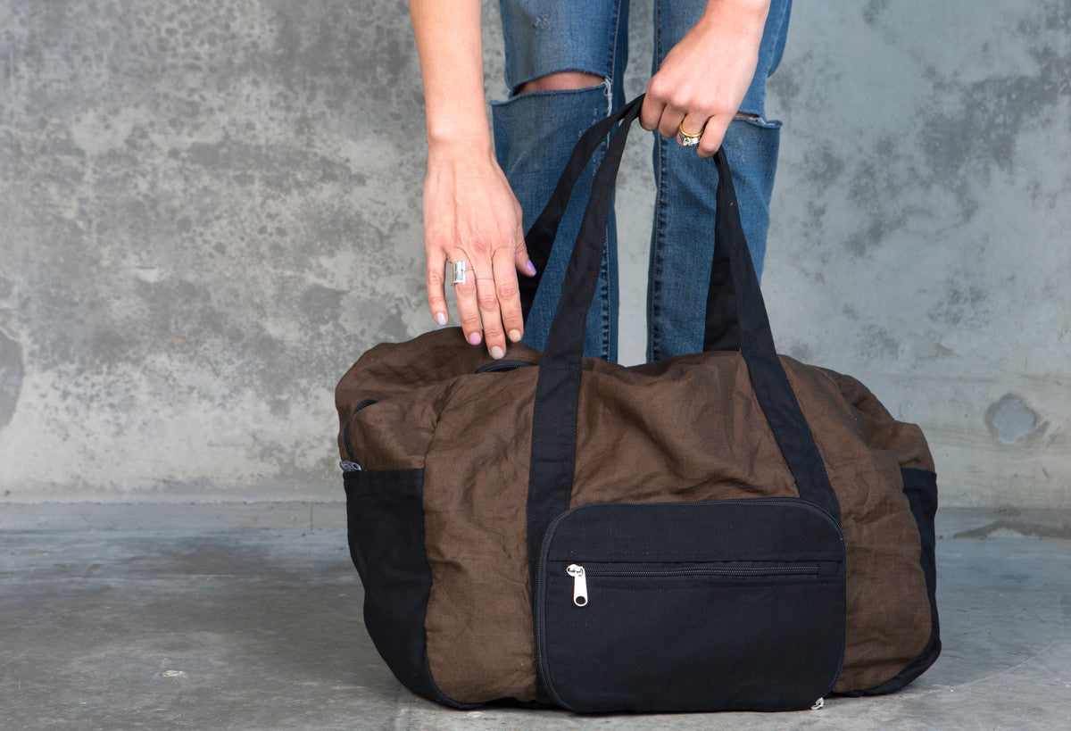 Tobacco Linen Fold-Away Duffel Bag