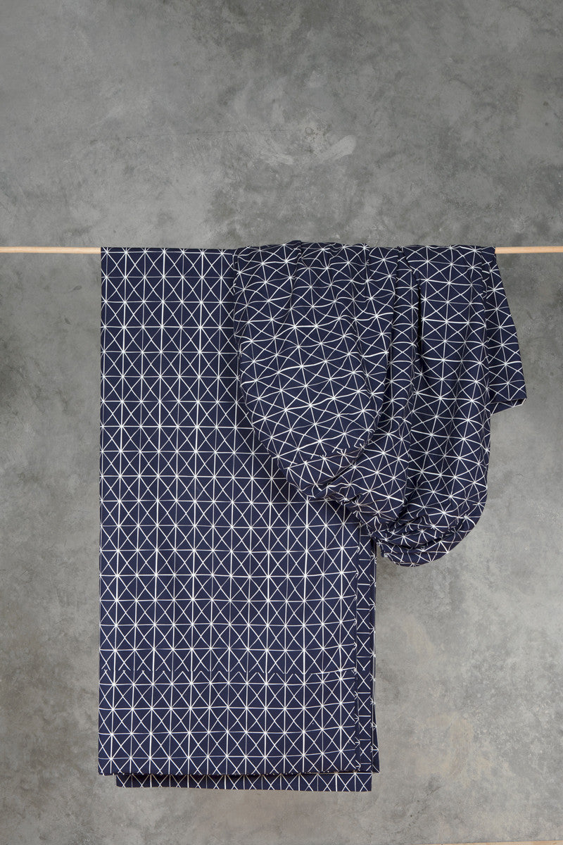 Navy Folds Fitted Sheet