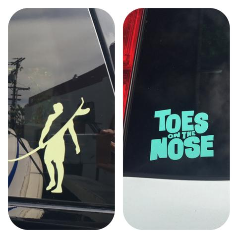 Toes on the nose surf stickers
