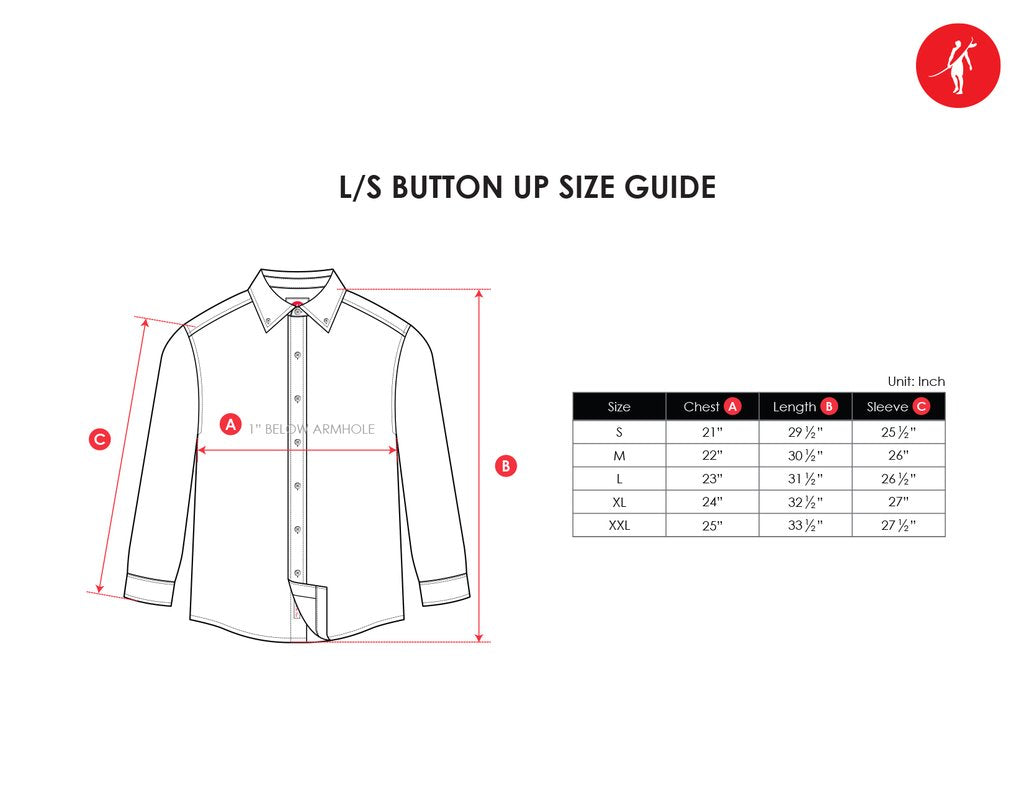 long sleeve button up size chart