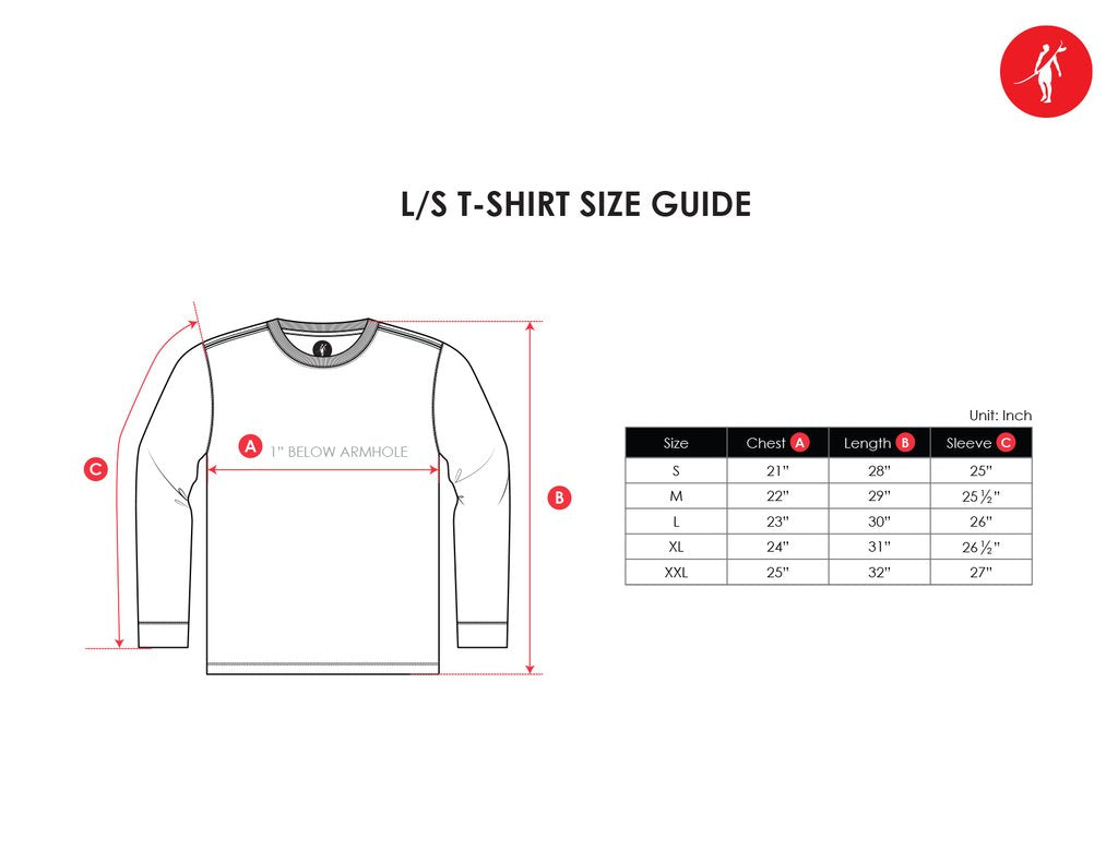 long sleeve tshirt size guide