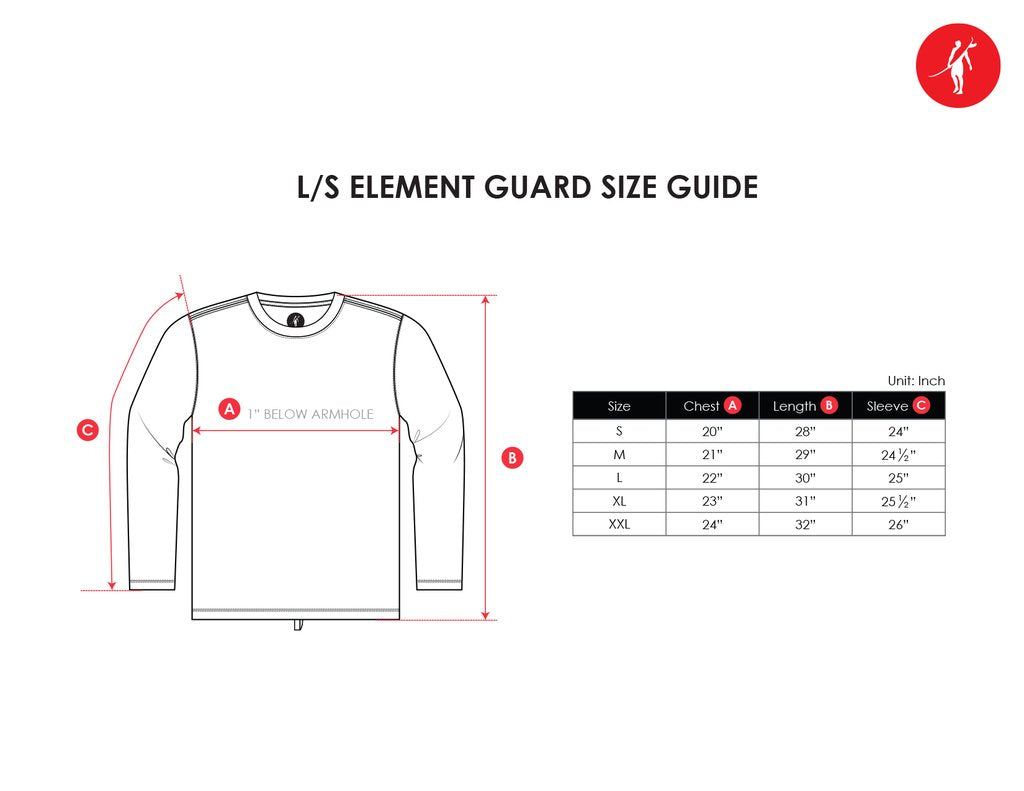element guard rashguard upf50 sun protection size chart