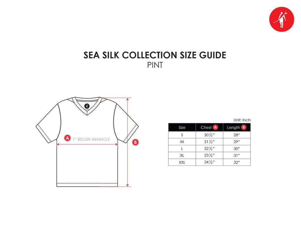 pint sea silk size chart