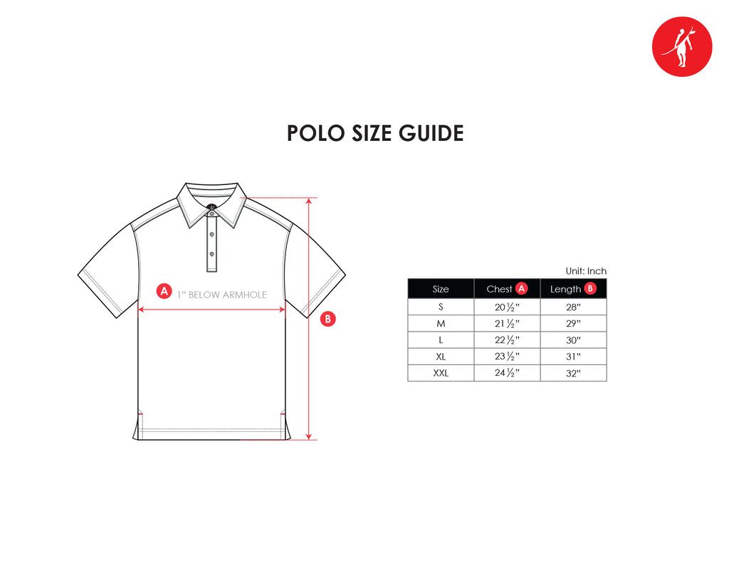 polo golf shirts size guide