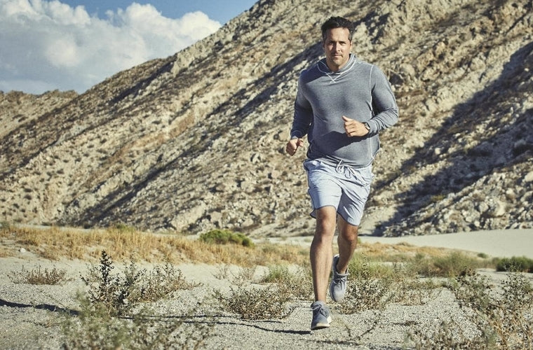mens running shorts in canyon