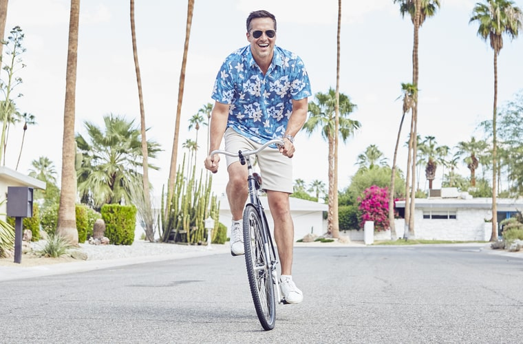 aloha shirt on bicycle