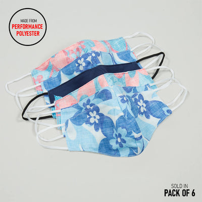 6 Pack | Performance Polyester Face Mask VARIETY