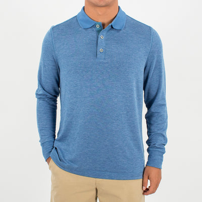 Helmsman L/S Polo (Sea Silk) HEATHER BLUE