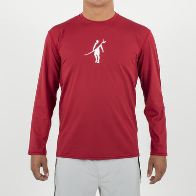 Dawn Patrol - SPF Long Sleeve Swim Shirts Front In ELEMENT RED