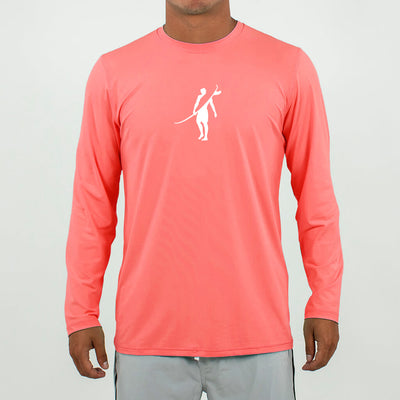 Dawn Patrol - SPF Long Sleeve Swim Shirts Front In SUMMER RED