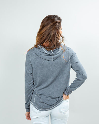 Schooner Hoodie Women's (Sea Silk) Dark Heather Grey Back