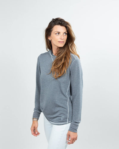 Schooner Hoodie Women's (Sea Silk) Dark Heather Grey Side