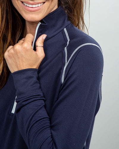 Barrel Quarter-Zip Women's (Sea Silk) Navy detail
