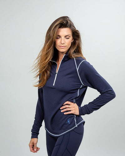 Barrel Quarter-Zip Women's (Sea Silk) Navy Side