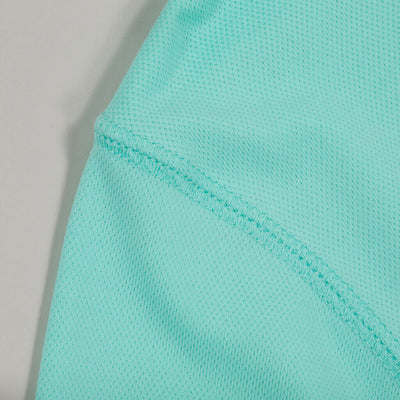 Dawn Patrol - SPF Long Sleeve Swim Shirts Front In AQUA detail
