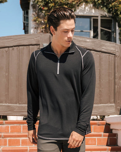 Barrel | Long Sleeve Raglan Half-Zip (Sea Silk) BLACK