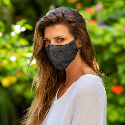 Spread Aloha | Reusable Face Mask For Germs On Woman Front In DEEP BLACK