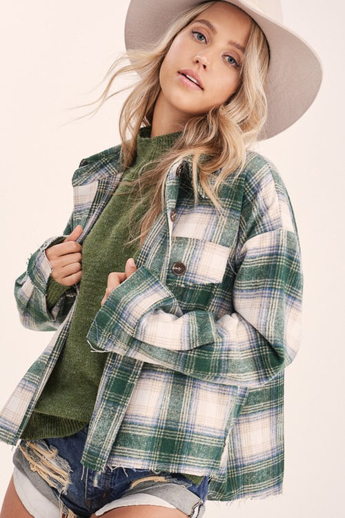 Plaid Shacket-Hunter Green