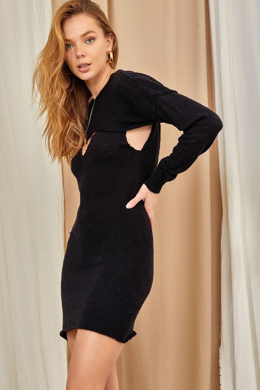 Cold Shoulder Dress-Black