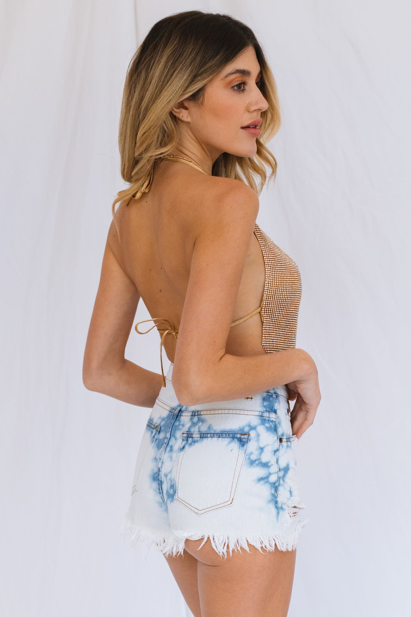 Painted On Cut Off Jean Shorts-Beach Blue