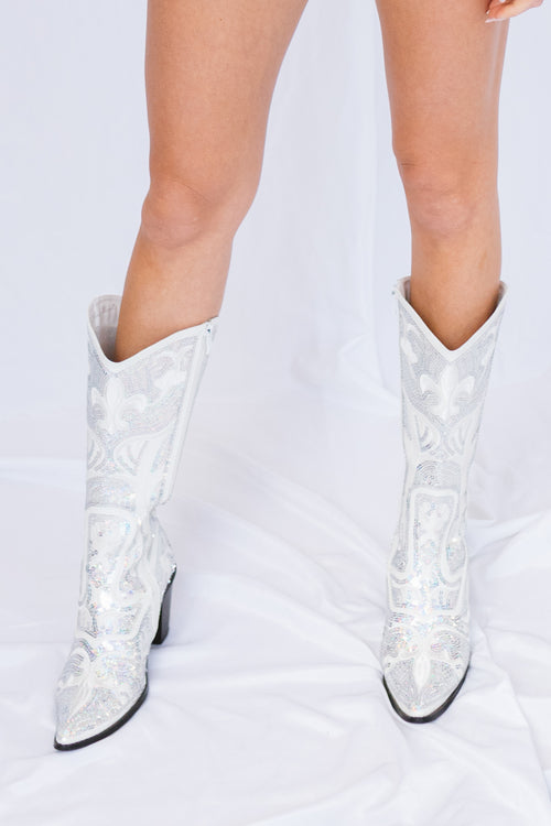 American Beauty Tall Boots-White