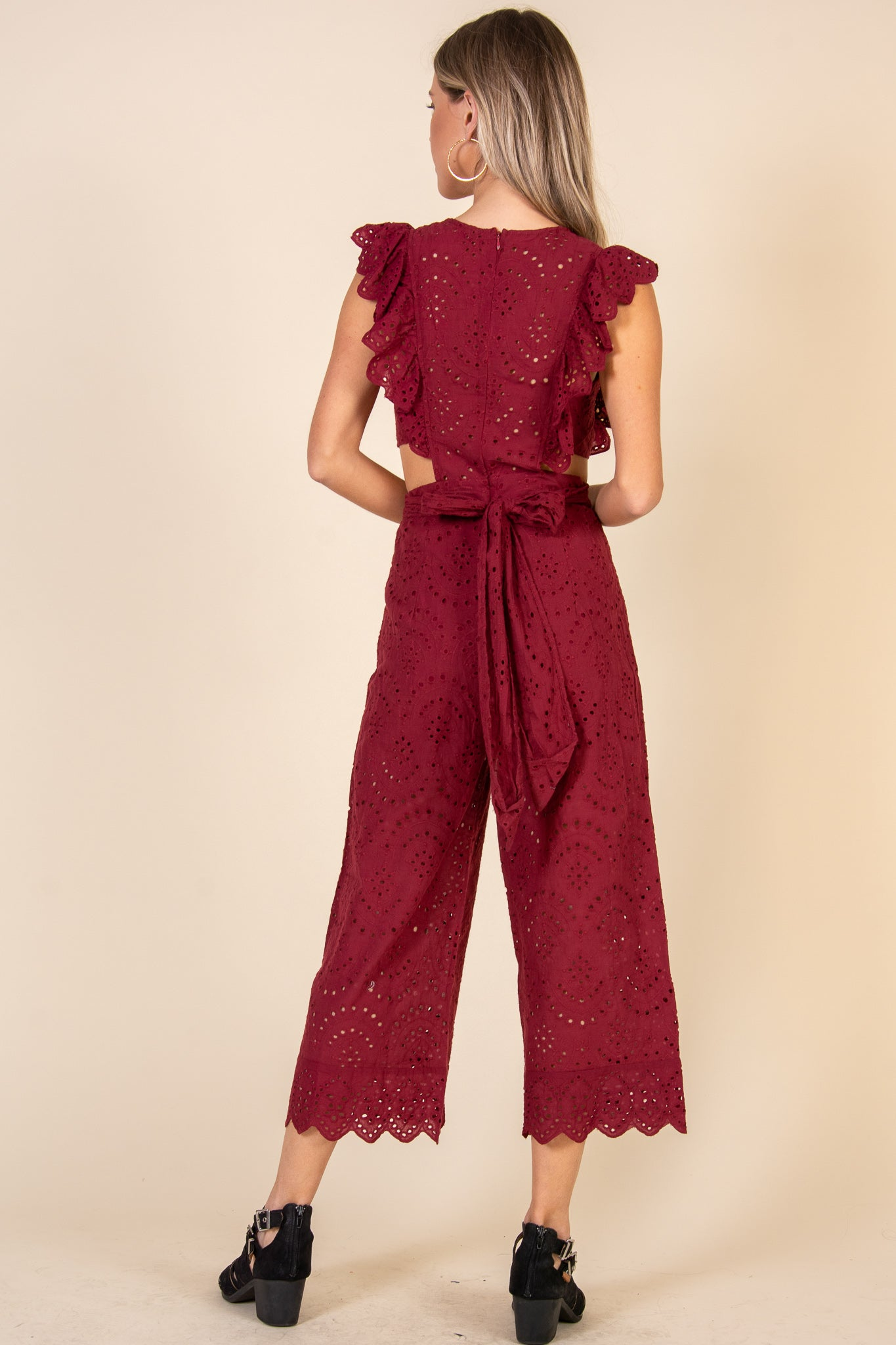 My Youth Is Yours Jumpsuit-Burgundy