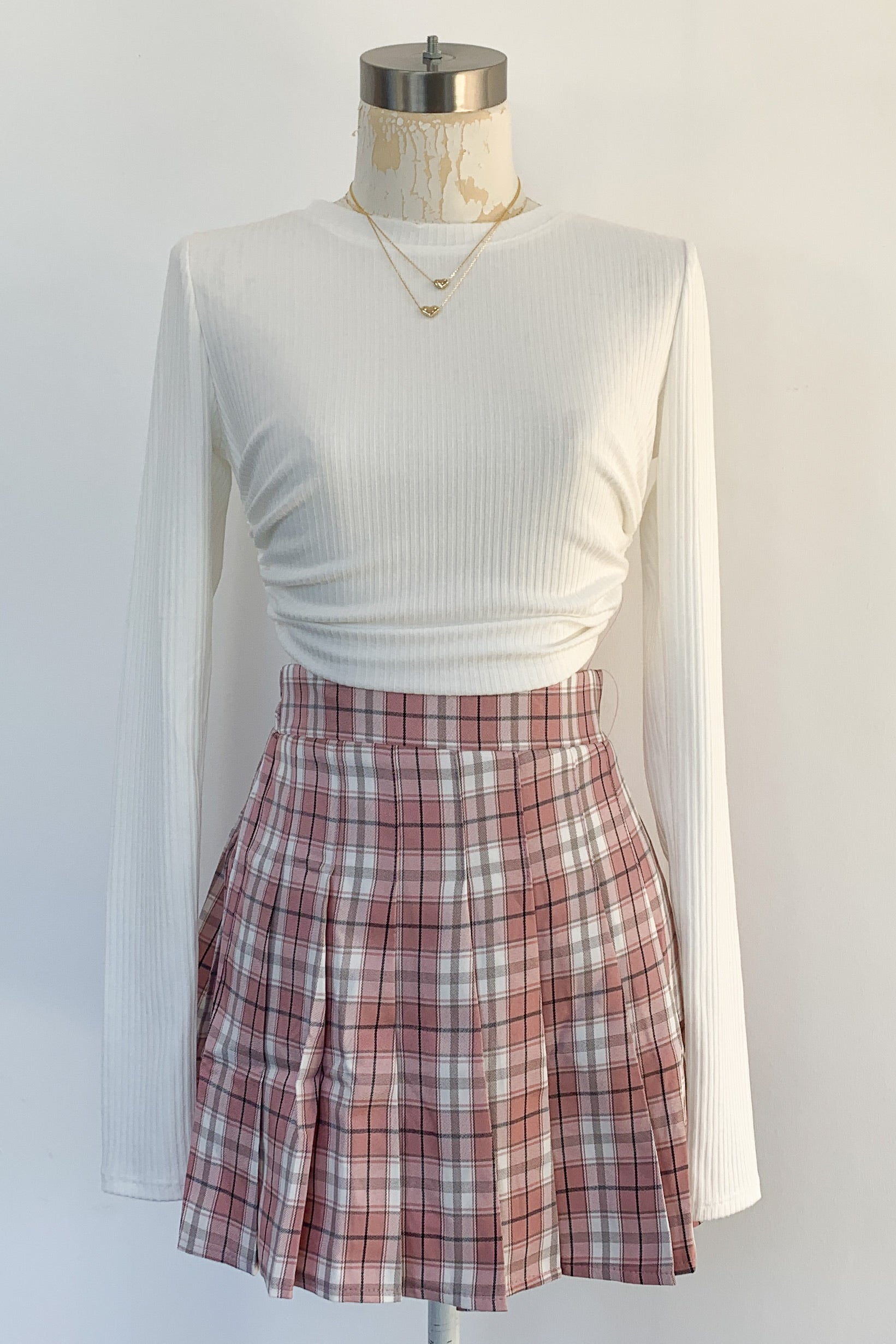 School Days Pleated Skirt-Pink