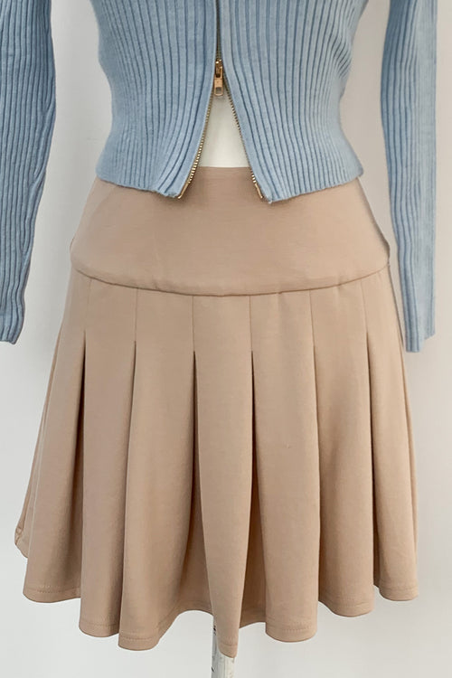Tennis Match Skirt-Beige