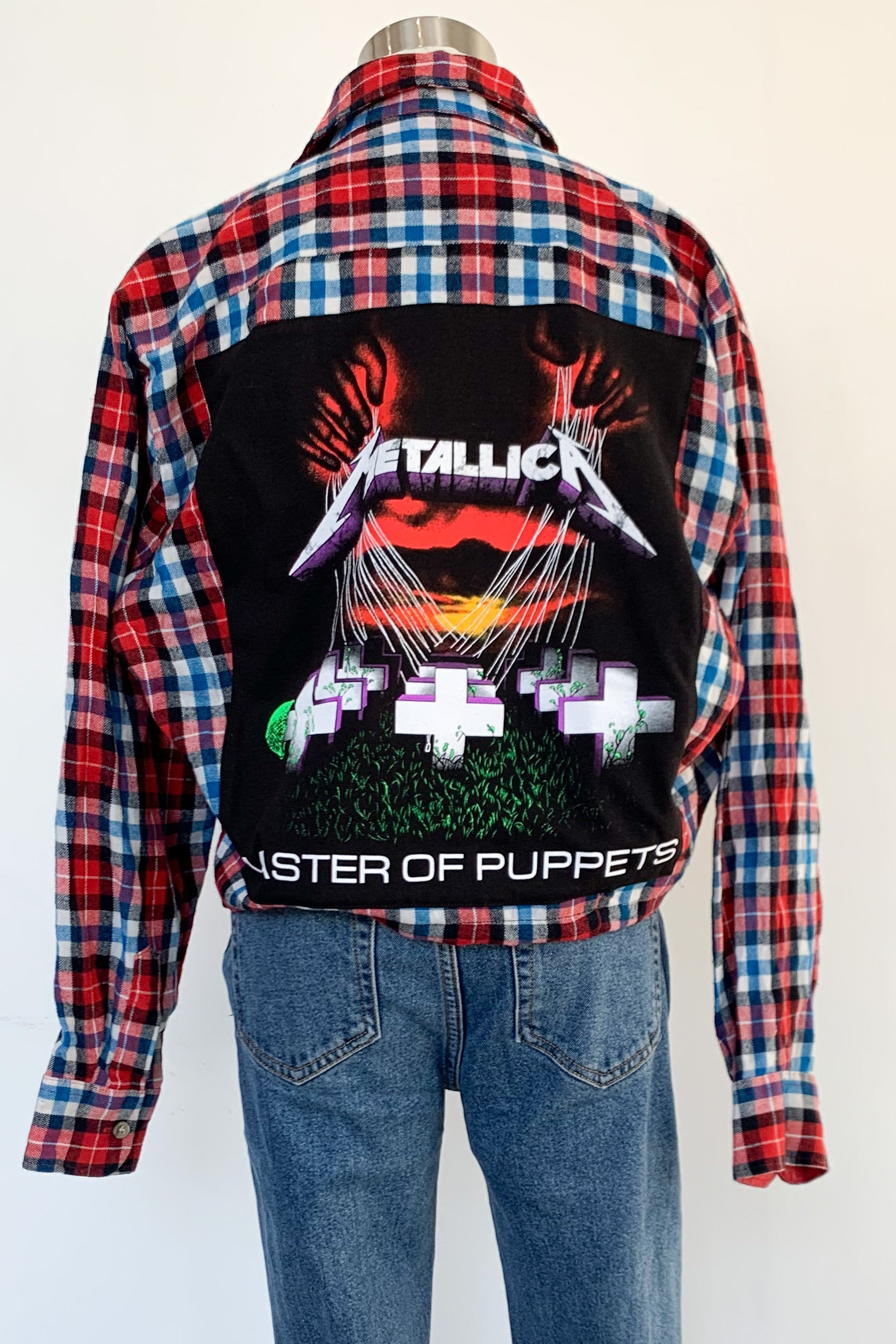 Vintage Cropped Red & Blue Flannel Jacket-Metallica