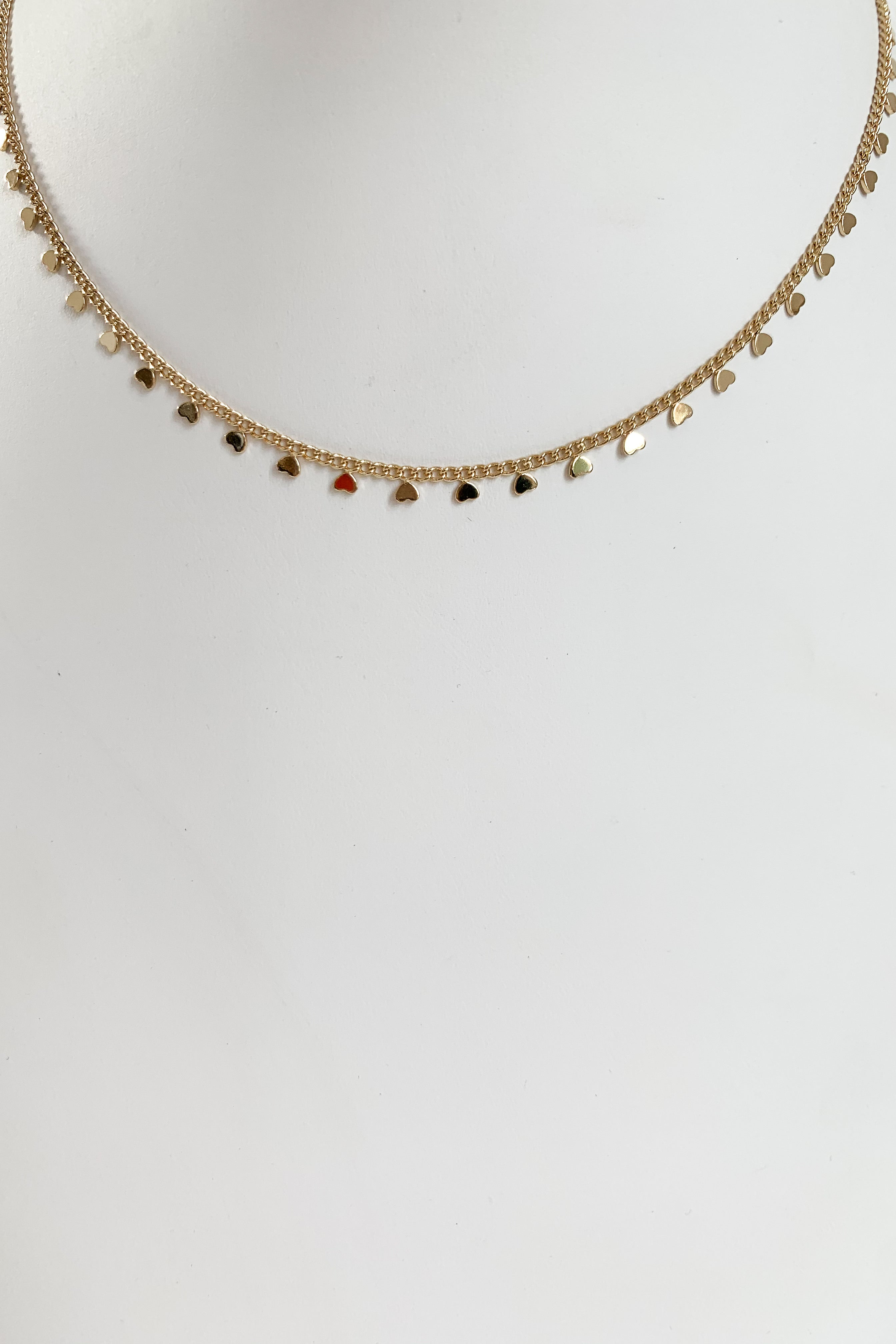 Heart Lineup Necklace-Gold