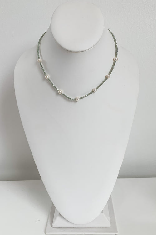 Boho String of Pearls Necklace-Sage