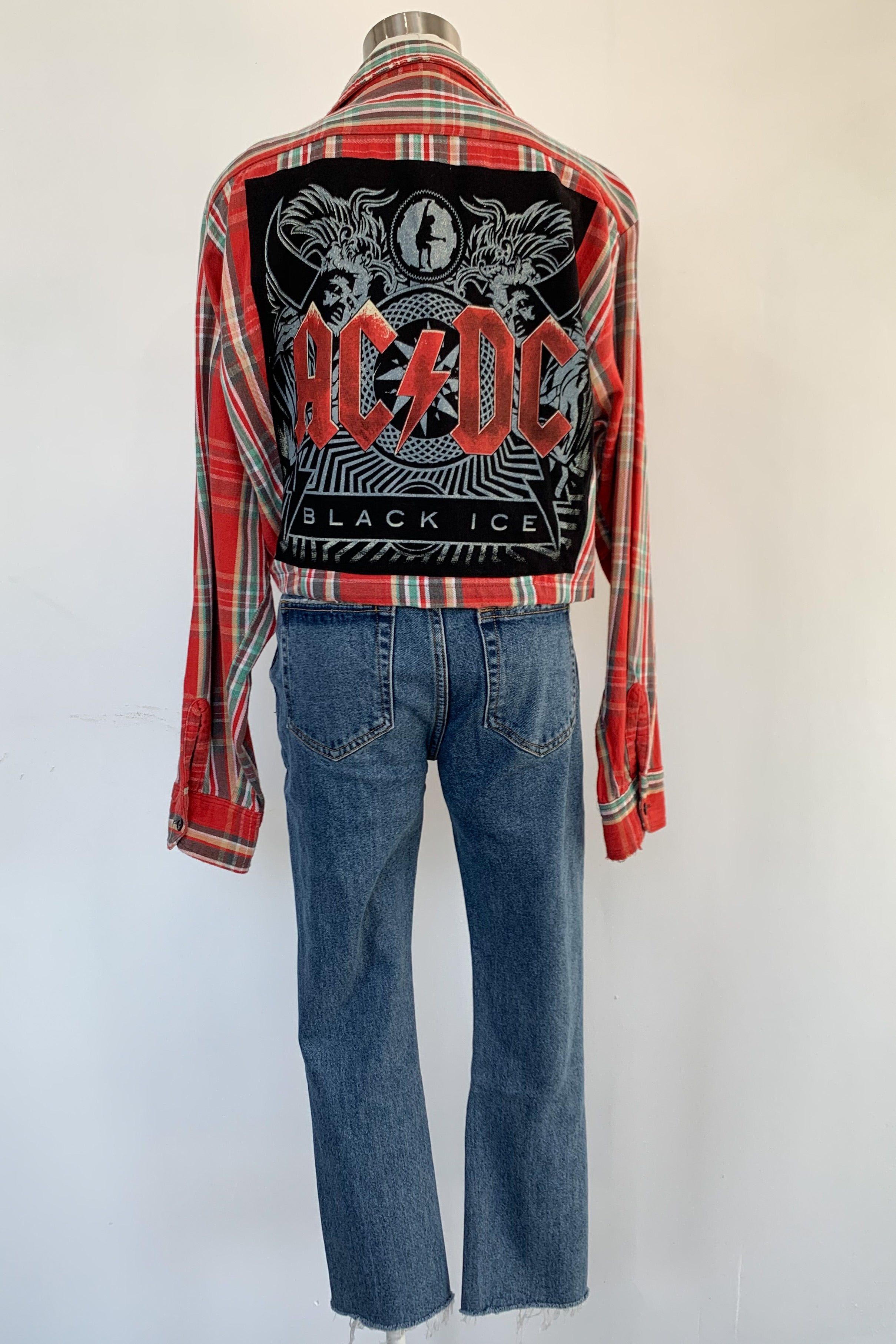 Vintage Cropped Green & Red Flannel Jacket-AC/DC