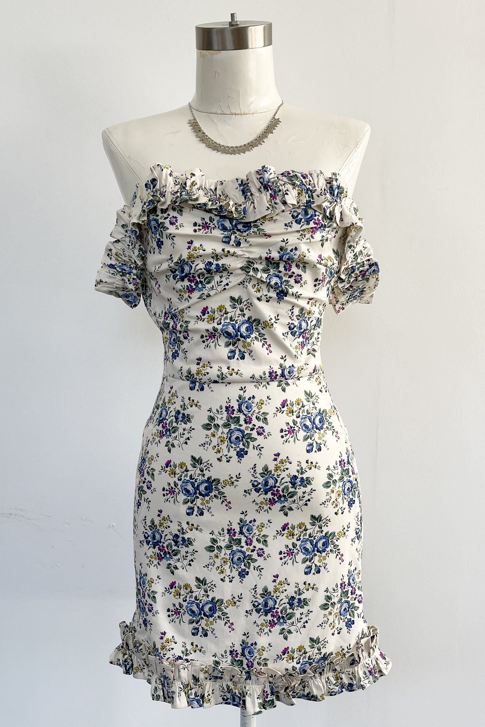 Pretty Heart Dress-Blue Floral