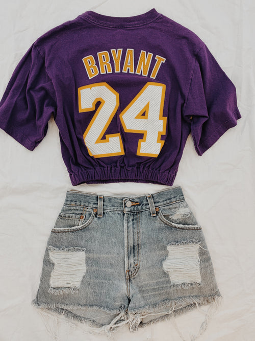 Vintage Sports Cropped Banded Tee-Purple