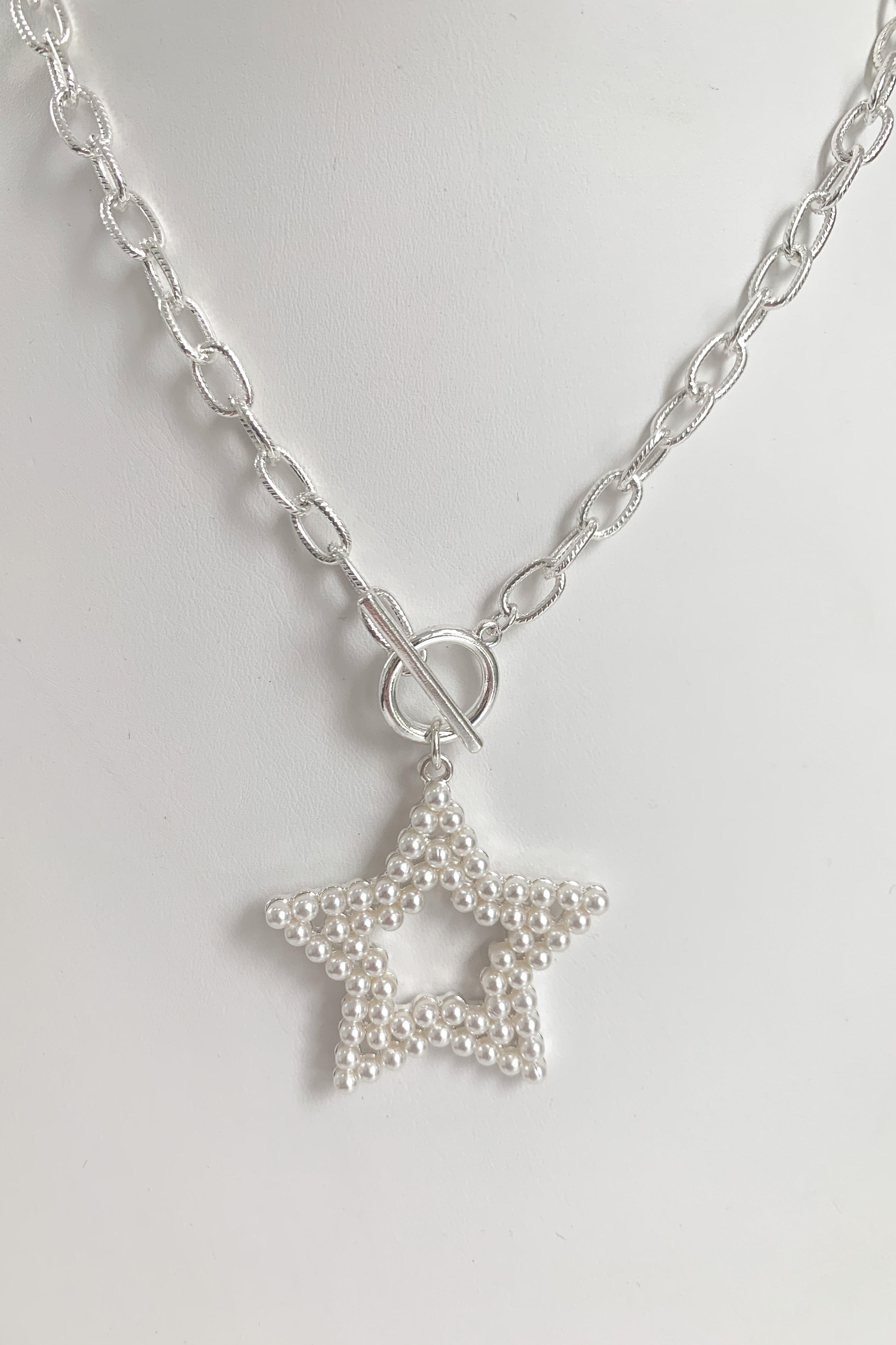 Pearl Texas Star Necklace-Silver