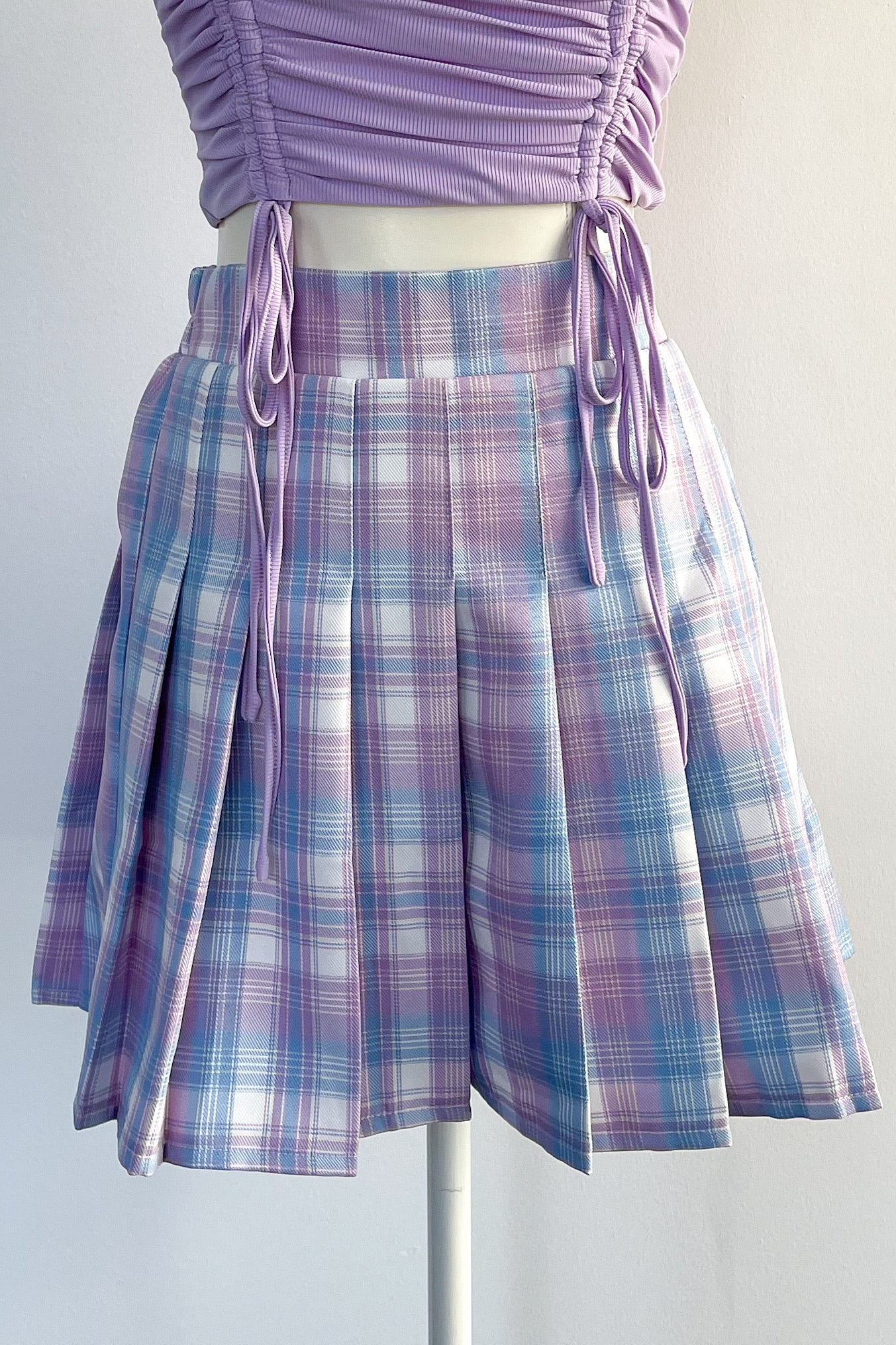 Court Love Plaid Skirt-Lavender