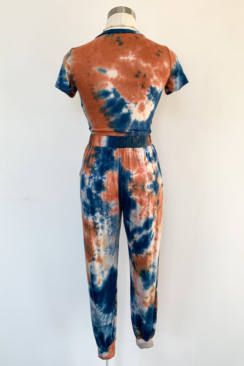 Beach Riot Lounge Set-Blue & Rust