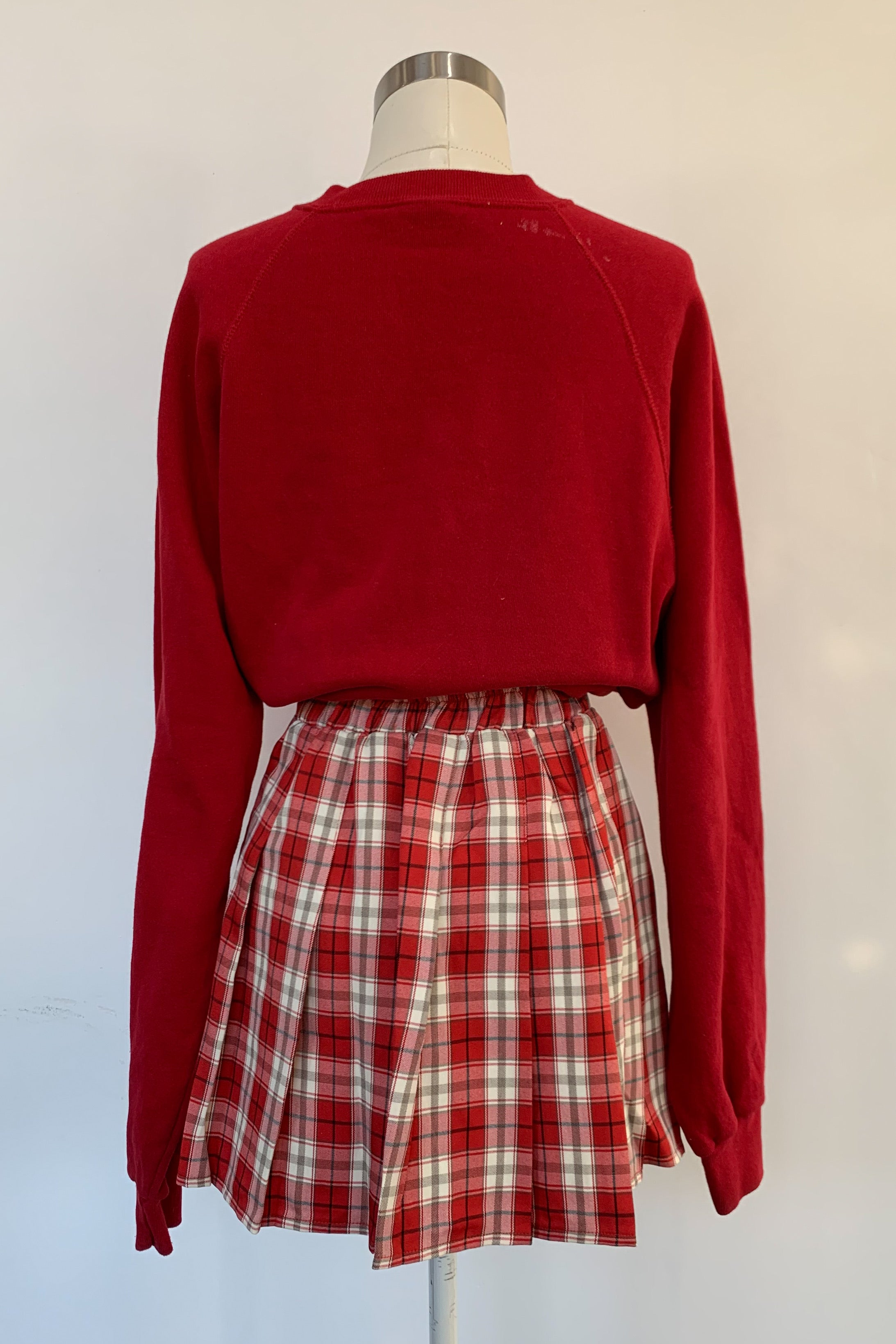 Court Love Plaid Skirt-Red