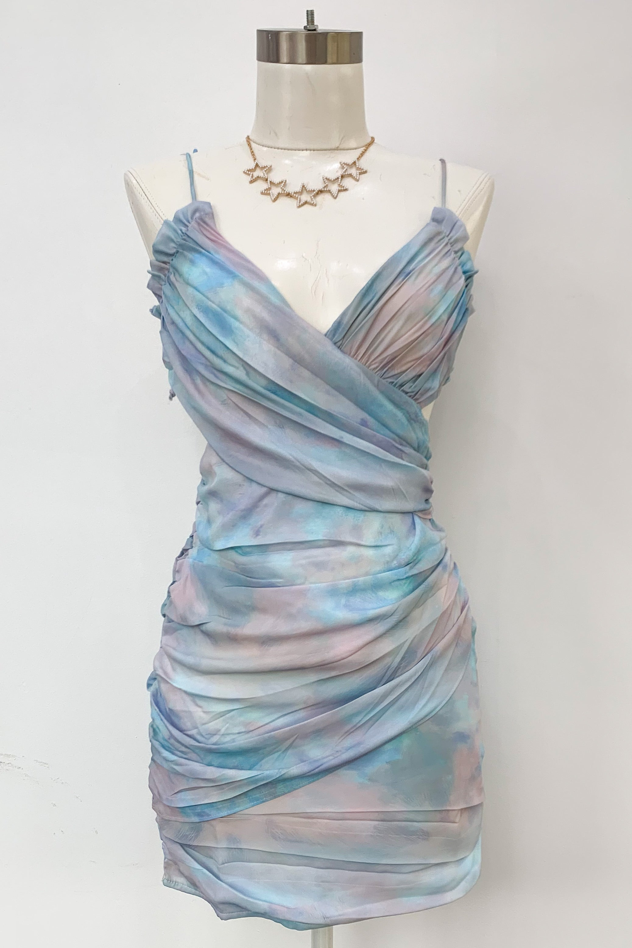Cross Your Mind Tie Dye Dress-Blue