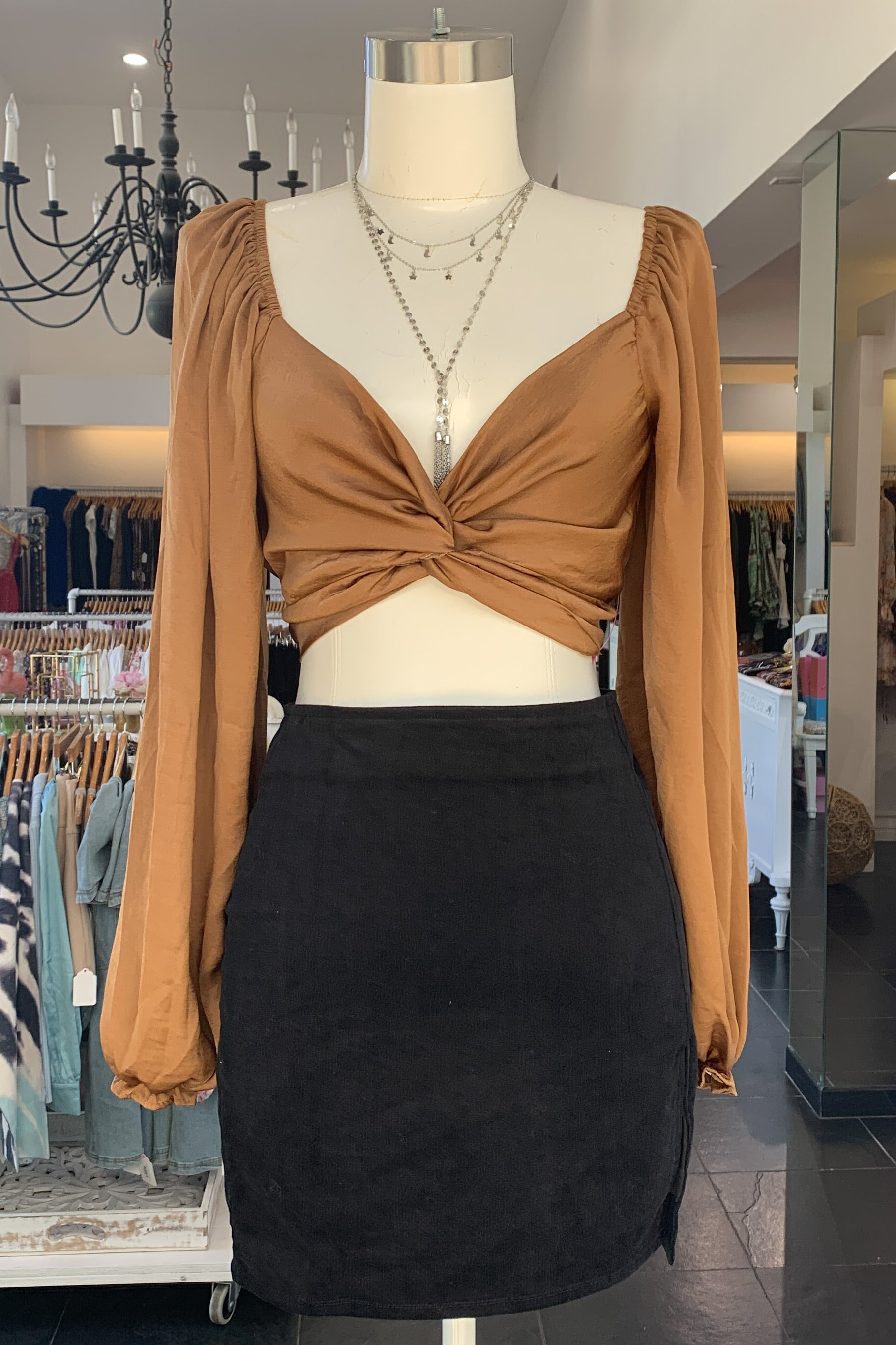 Georgiana Tie Top-Bronze